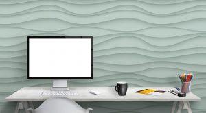 3D Wallpaper #08 - TST | TST custom wallpaper | Wavy Wallpaper | Teal Wallpaper | Wallpaper Printer JHB