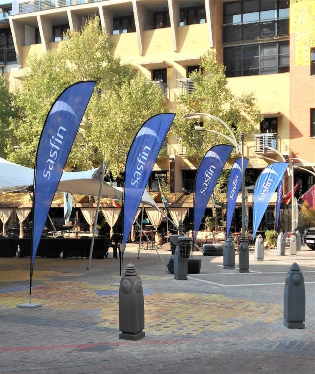 Sharkfin Banner   Flags with bases   Flag and base supplier JHB