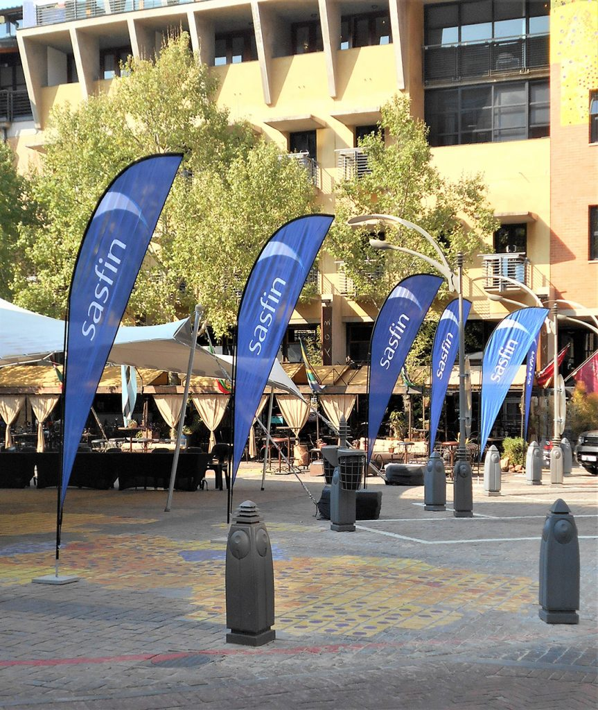 Sharkfin Banner | Flags with bases | Flag and base supplier JHB