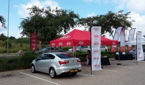 Outdoor Car Activation with Gazebo and Telescopic Banners   Branded Banners and Gazebos   Fabric Banners