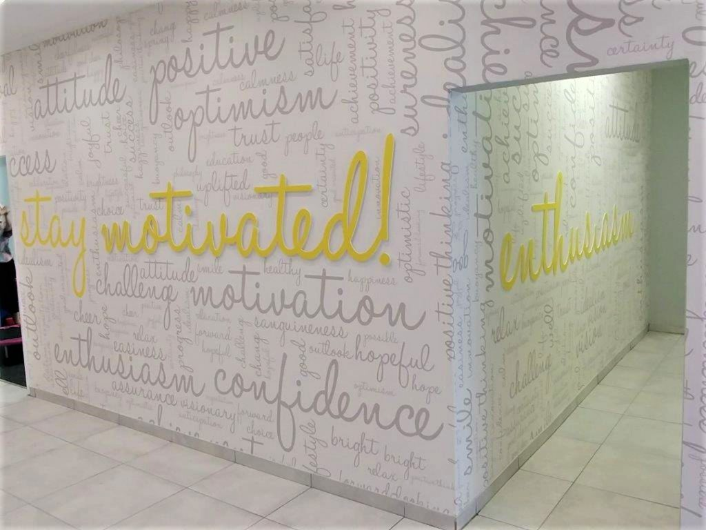 Custom Wallpaper with cut out forrex lettering